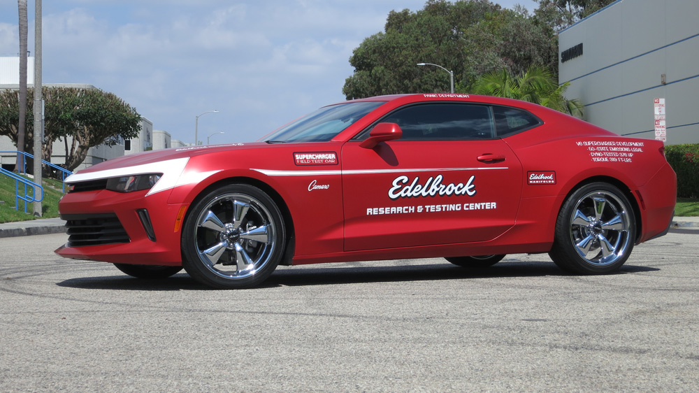 Edelbrock's aftermarket Chevy Camaro with a supercharged V-6 performance kit.