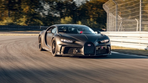 The Bugatti Chiron Pur Sport being tested on a track.