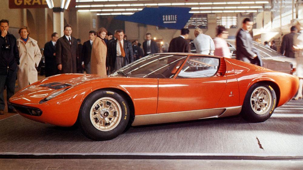 A Lamborghini Miura on display at the 1966 Geneva Motor Show.