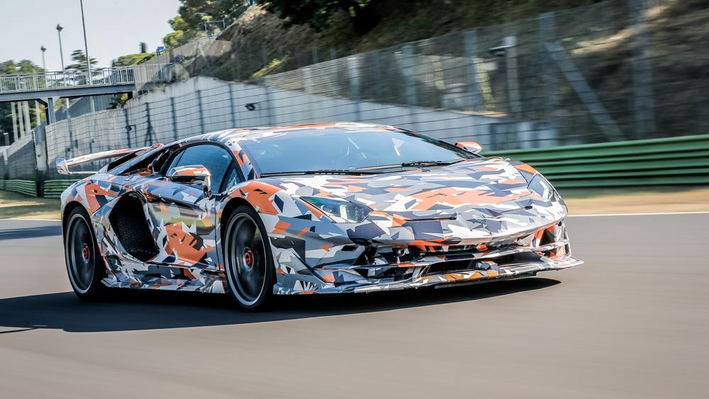 The Lamborghini Aventador SVJ setting the lap record at Nürburgring.