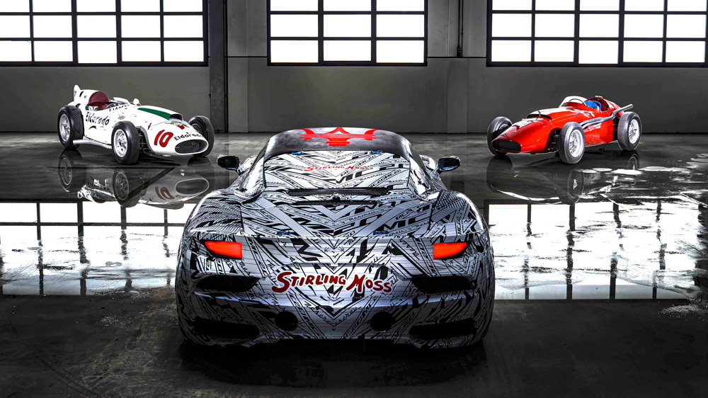 Clockwise from center: A Maserati MC20 prototype, the Maserati Eldorado and the Maserati 250F.