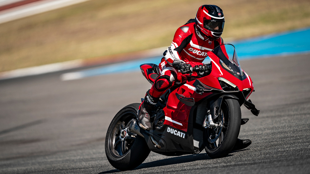 A preproduction version of Ducati's Superleggera V4 being tested on track.