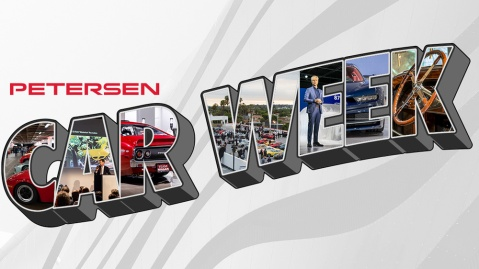 A promotional piece for Petersen Car Week, a series of virtual automotive events.