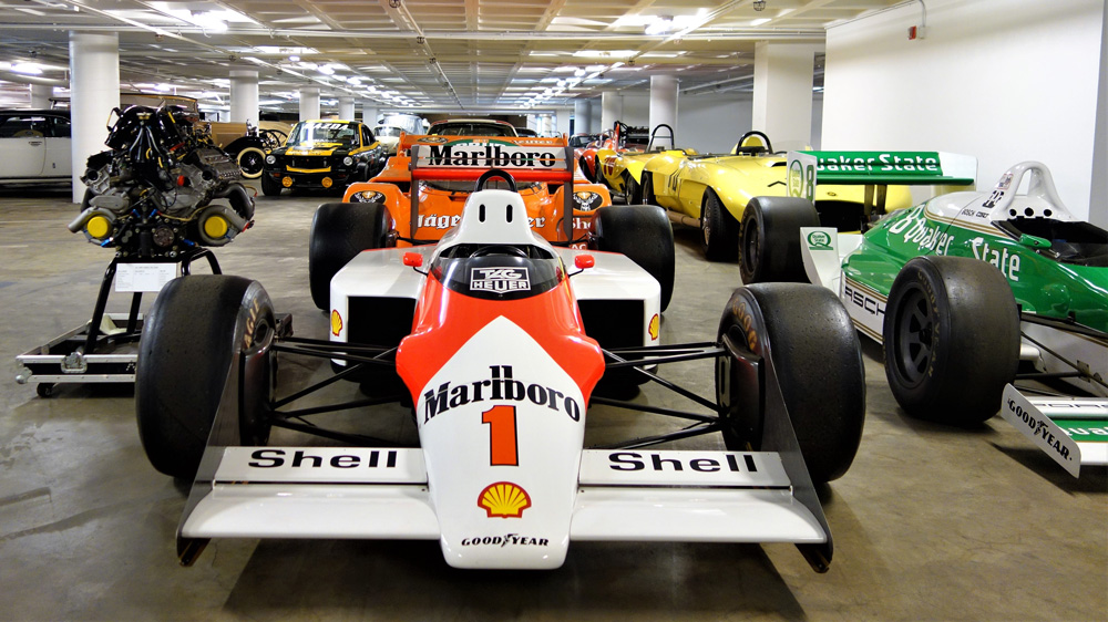 Race cars in storage at the Petersen Automotive Museum.
