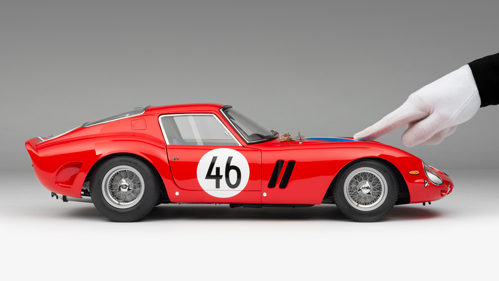 A 1:8 scale model of a 1963 Ferrari 250 GTO from Amalgam Collection.