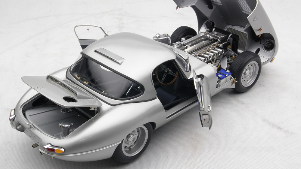 "Amalgam Collection's 1:8 scale model of the Jaguar E-Type ""Car Zero."""