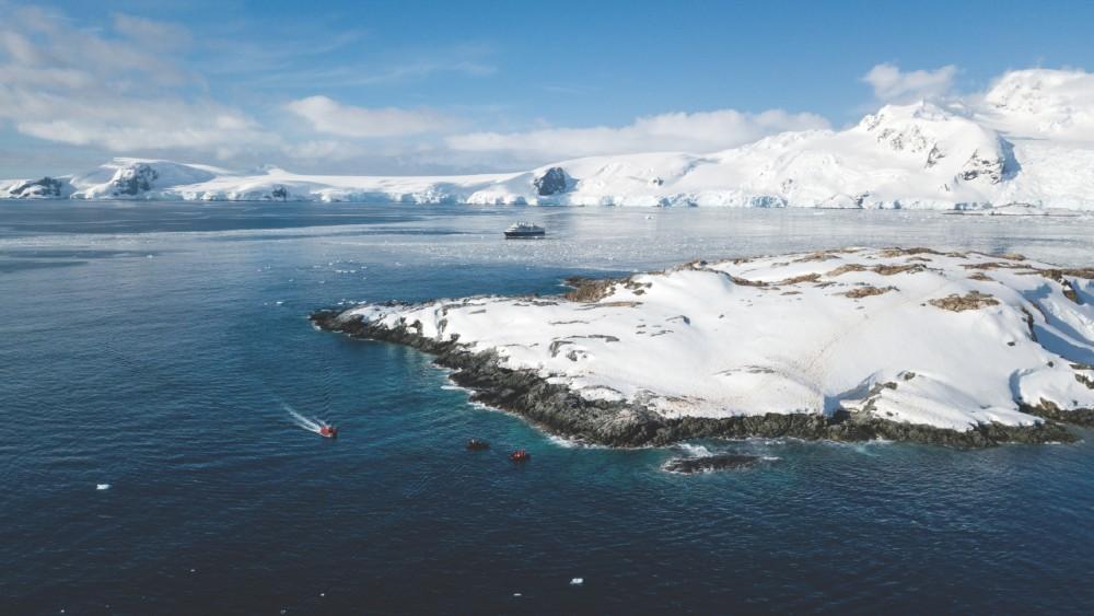 Antarctica Silversea Cruises aerial flight