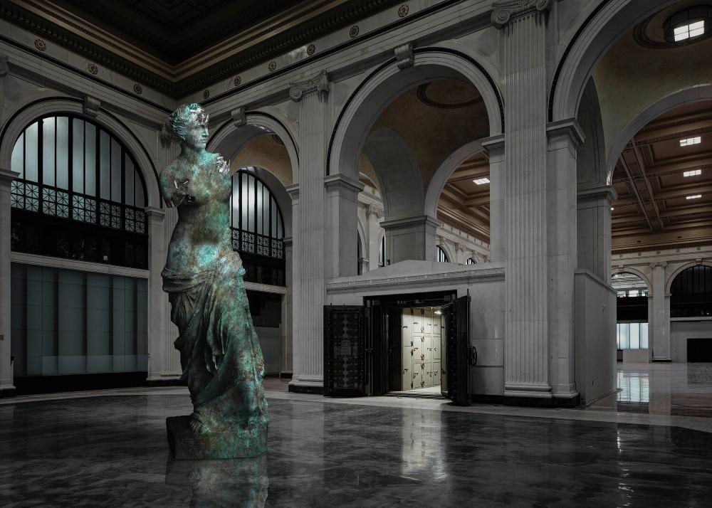 "Daniel Arsham's ""Bronze Eroded Venus de Milo"" (2020), included in ""SITE: State Savings Bank."""
