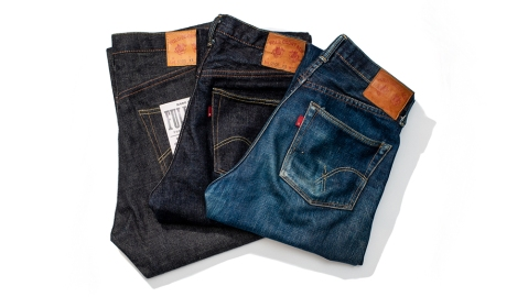 Three pairs of Full Count jeans.