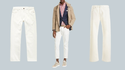 White jeans from OrSlow, Brunello Cucinelli and Fortela.