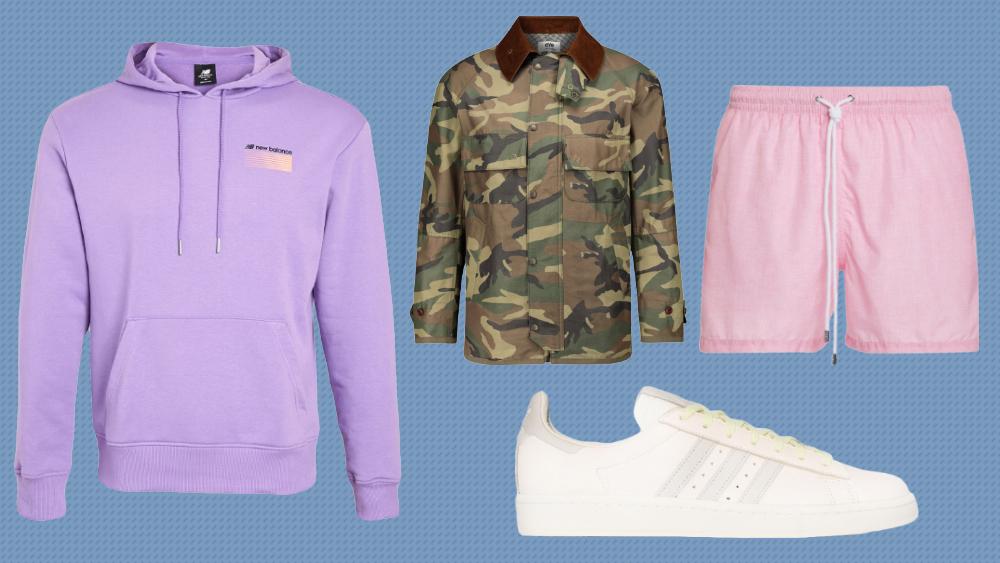 A New Balance hoodie, Junya Watanabe jacket, Fedeli shorts and Adidas Sneakers