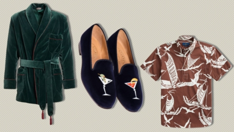 Paul Stuart smoking jacket, Stubbs & Wootton slippers and Polo Ralph Lauren shirt.