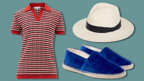 Odyssee polo, Frescobal Carioca Panama hat, Anderson & Sheppard espadrilles