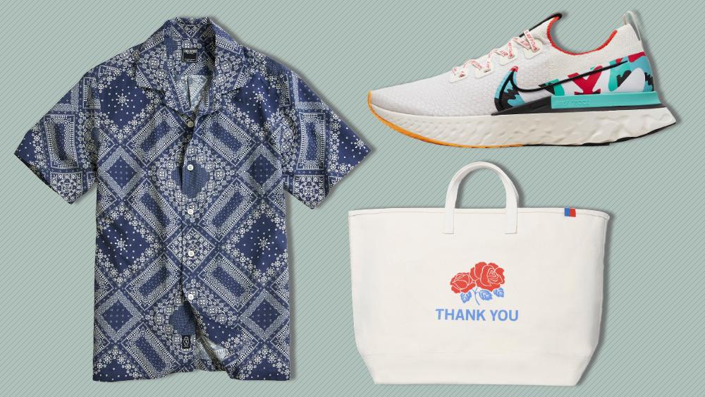 Todd Snyder shirt, Nike sneaker, Kule bag