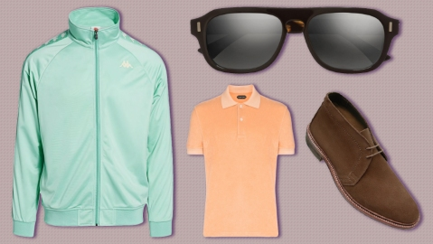 A Kappa track jacket, Cutler & Gross sunglasses, Alden boot, Tom Ford polo