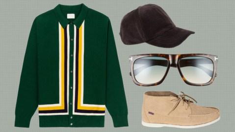 Aimé Leon Dore sweater, Acne Studios hat, Tom Ford sunglasses, Todd Snyder x Sebago shoe