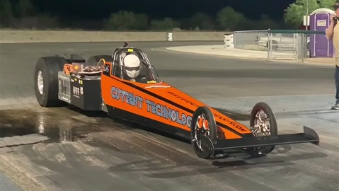 The Current Technology 2.0 electric dragster driven by Steve Hull