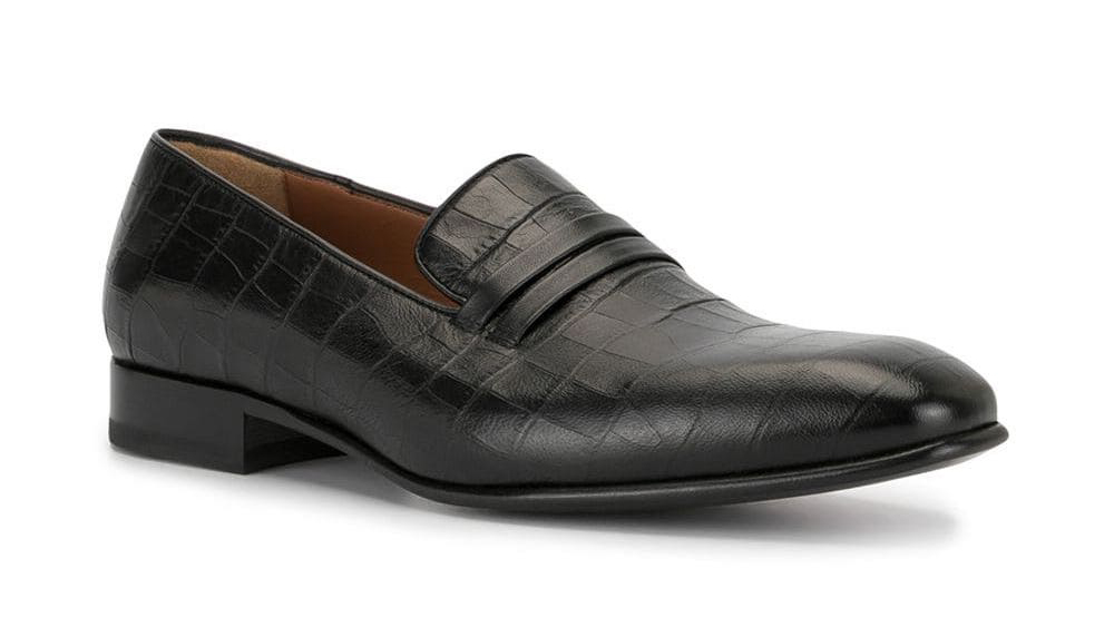 Malone Souliers croc-embossed calfskin loafer