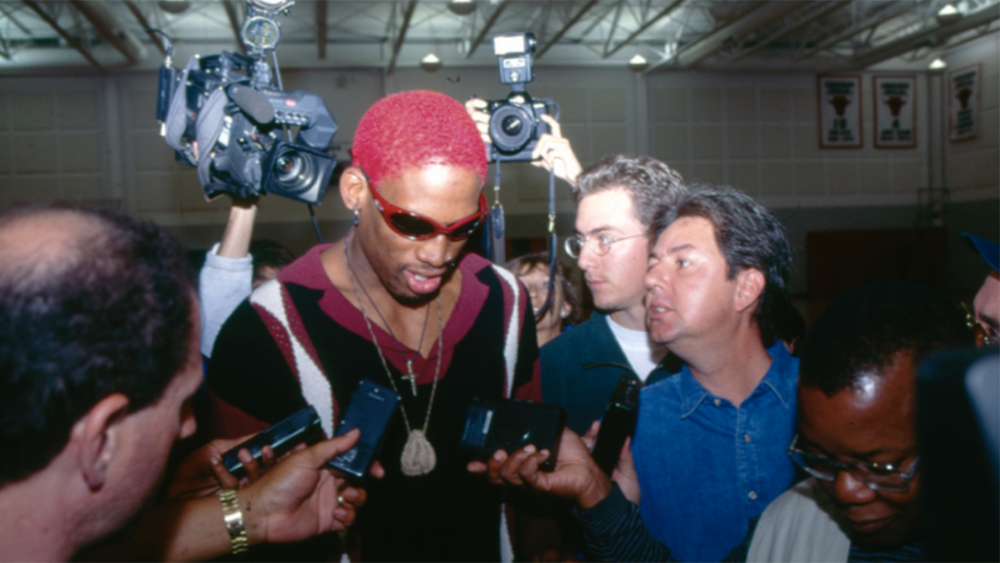 Dennis Rodman and Dwight Manley while the NBA star was with the Bulls