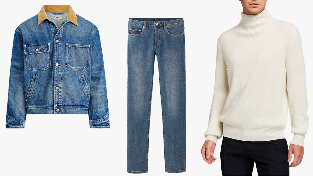 Polo Ralph Lauren jacket, A.P.C. jeans, The Row sweater