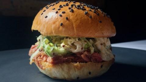 Carolina-style pulled pork sandwich