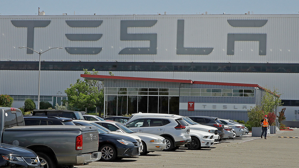 Tesla's production facility in Fremont, California, on May 11, 2020