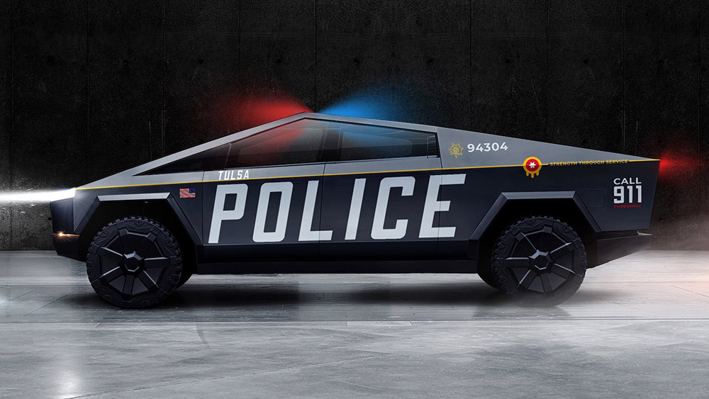 A rendering of the Tesla Cybertruck as a Tulsa police vehicle