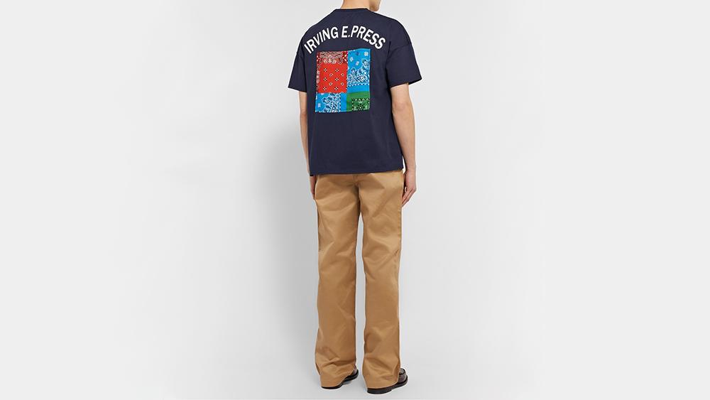J. Press Japan's appliquéd t-shirt, $170, and chinos, $390.