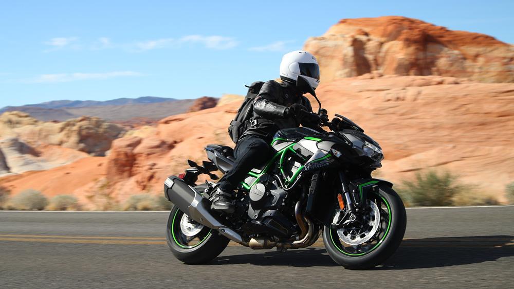 The 2020 Kawasaki Ninja Z H2 motorcycle.