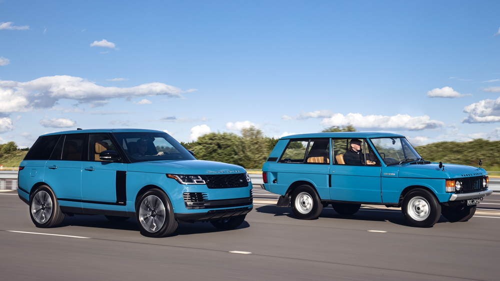 The original Range Rover model (right) and the special-edition Range Rover Fifty (left) to mark the golden anniversary of the model.