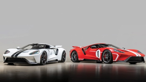 The 2017 Ford GT (left) and 2018 Ford GT Heritage Edition owned by racers Joey Hand and Scott Pruett, respectively.