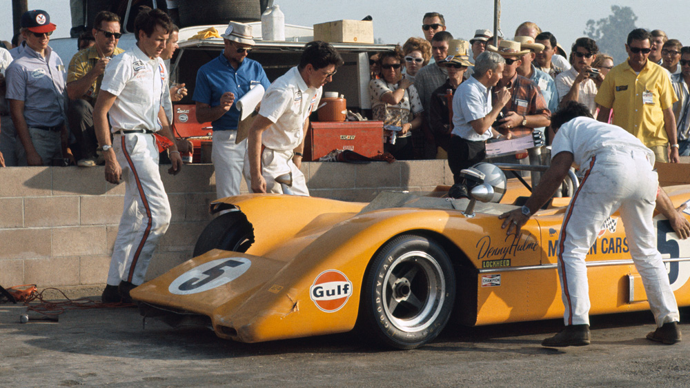 Bruce McLaren at the 1968 Los Angeles Times Grand Prix in Riverside, Calif., a race he went on to win.