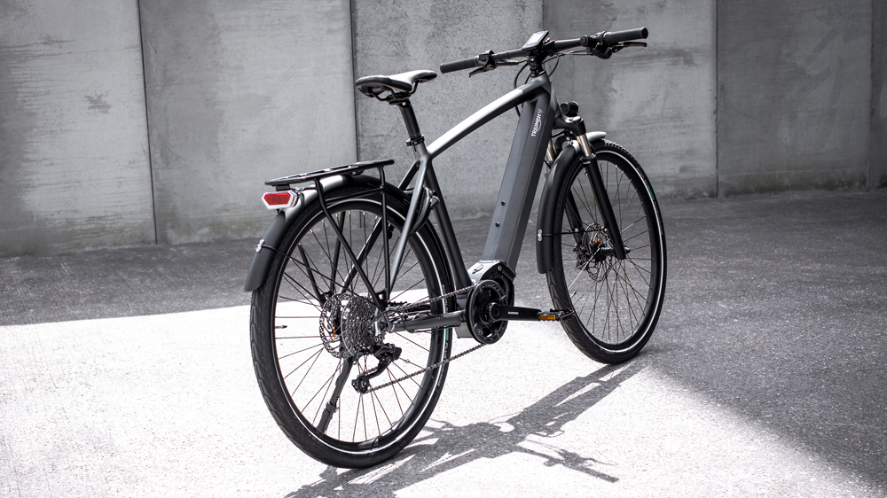 A prototype of the Trekker GT electric bicycle from Triumph Motorcycles Ltd.