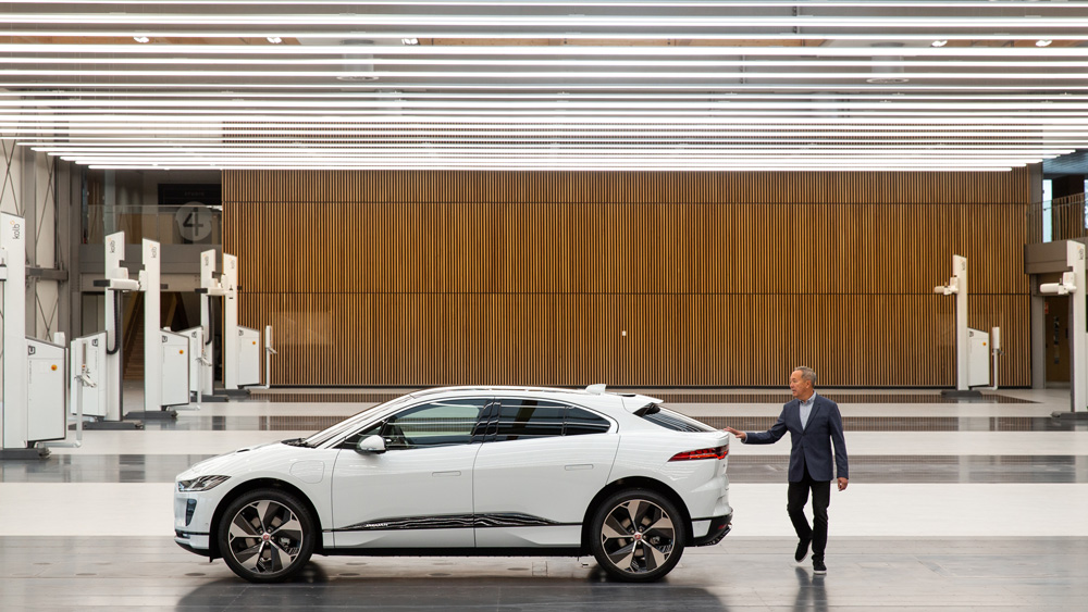 Jaguar's design director, Julian Thomson, with the electric I-PACE.