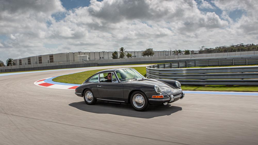 A Porsche at the Concours Club, a private racetrack in Miami.