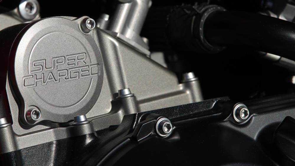 A detail of the 2020 Kawasaki Ninja Z H2 motorcycle.