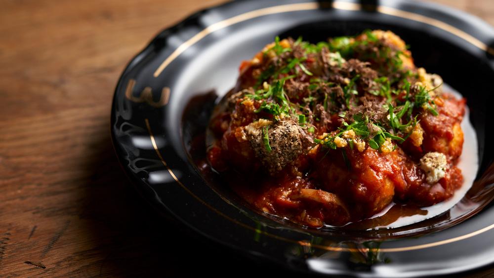 Chef Brad Kilgore's ricotta gnudi dumplings.