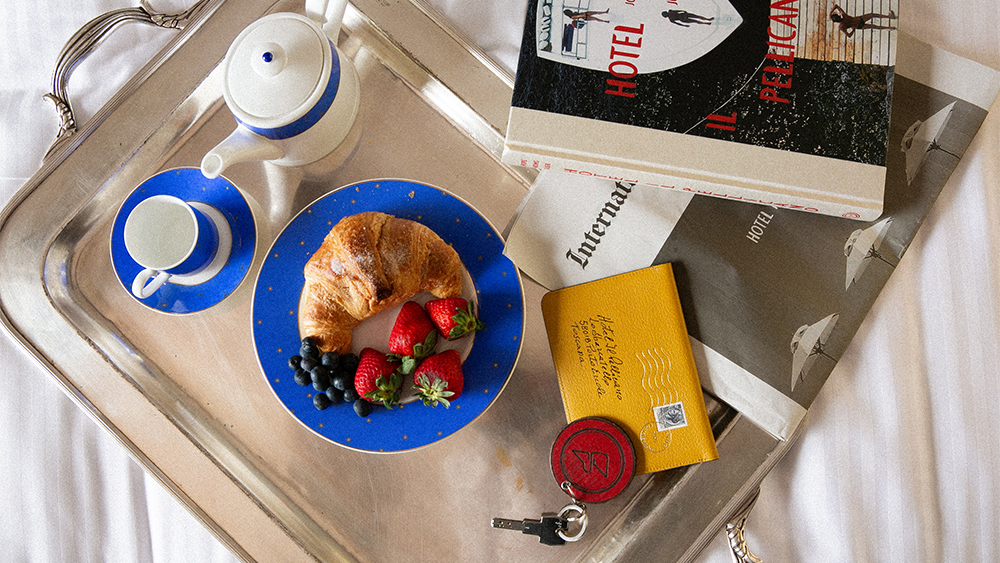 A breakfast tray at Il Pellicano, featuring a selection of accessories sold on Issimo.