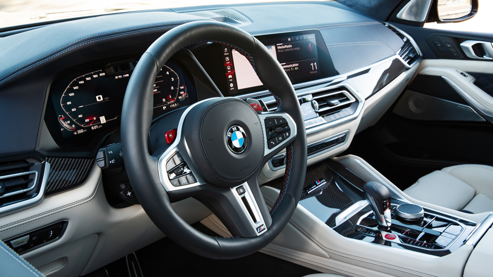 The interior of the 2020 BMW X5 M Competition.