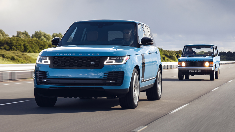 The special-edition Range Rover Fifty followed by an example of the original model from 1970.