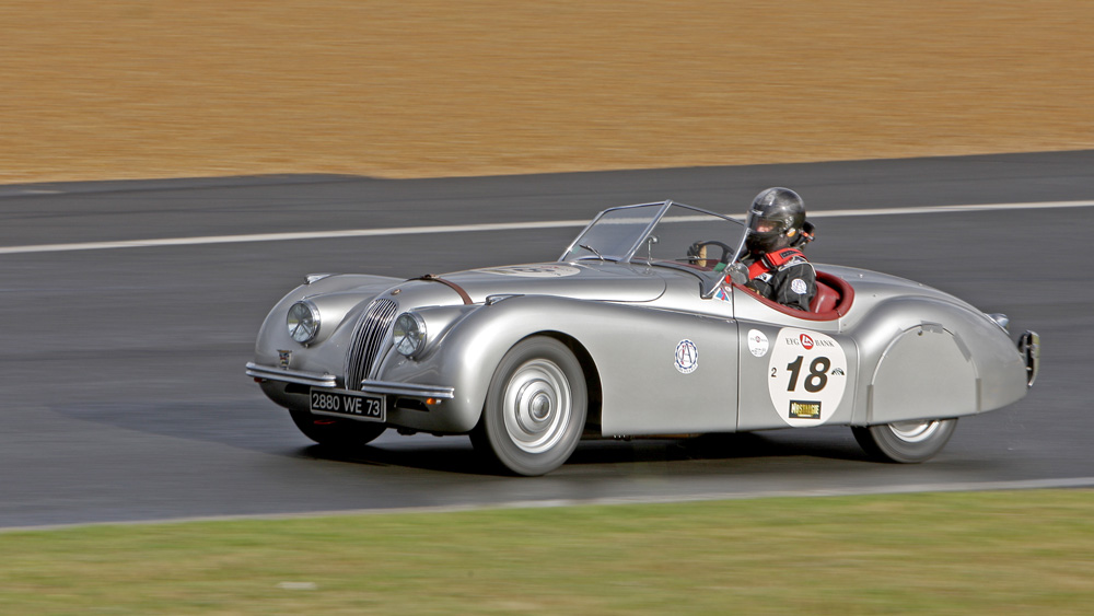 A Jaguar XK120 at the 2012 Le Mans Classic.