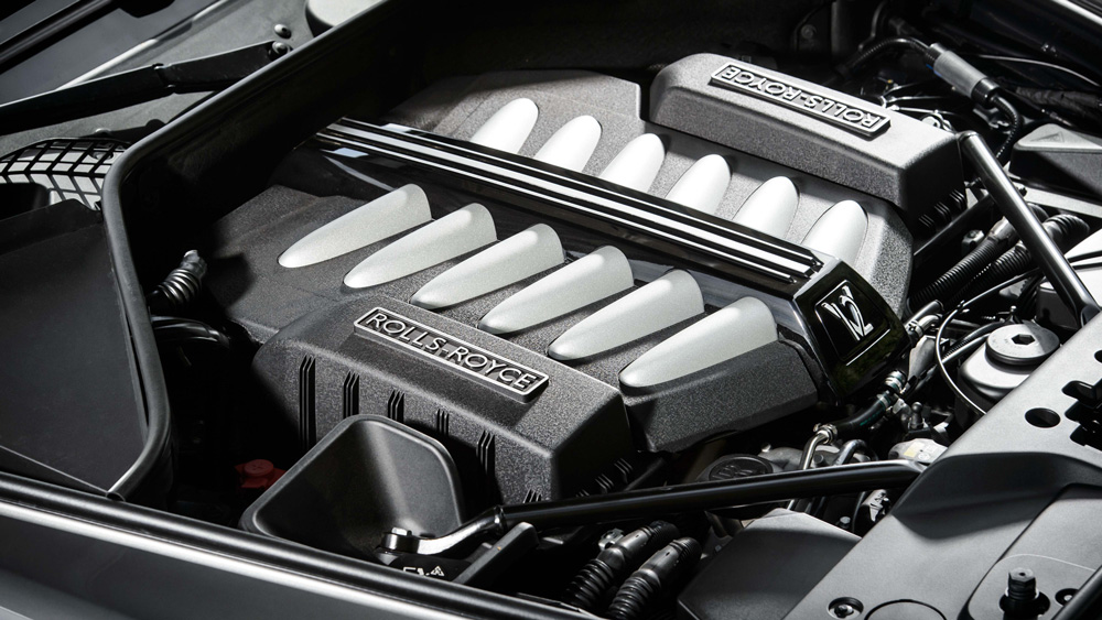 The current Rolls-Royce Ghost's 6.6-liter twin-turbo V-12 engine.