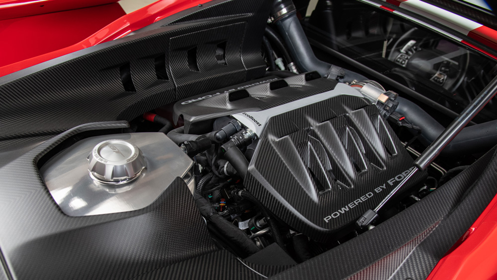 The 647 hp, 3.5-liter twin-turbo V-6 in Pruett's 2018 Ford GT.