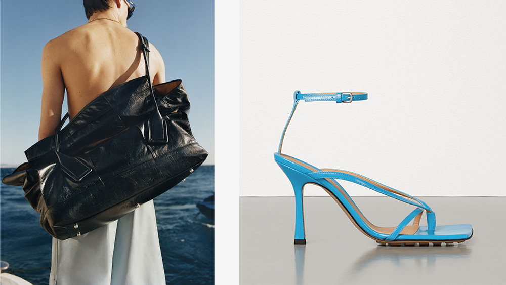 An image from Bottega Veneta's most recent ad campaign and the label's best-selling 'Stretch' sandal.