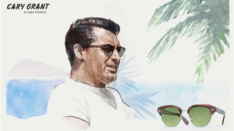 A sketch of Grant in the new Cary Grant 2 sunglasses.