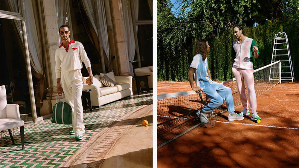 Looks from Casablanca's spring collection, including a knit polo and colorful tracksuits.