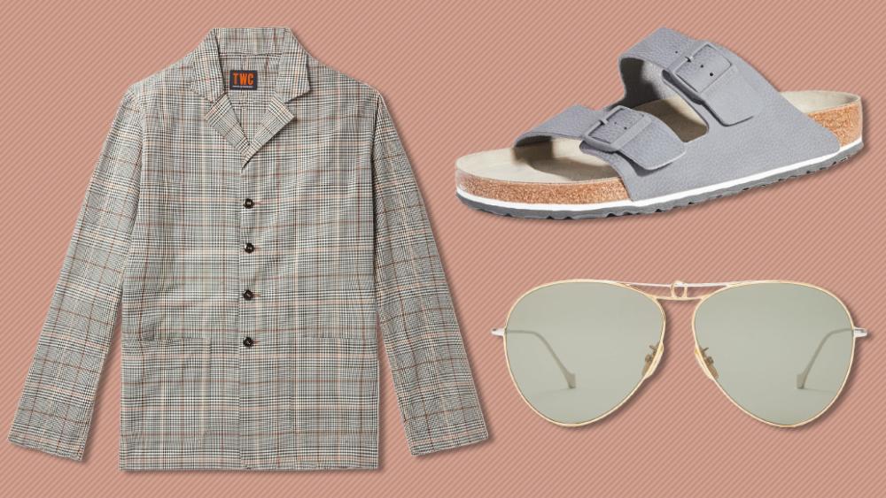 The Workers Club blazer, Birkenstock sandals and Loewe sunglasses