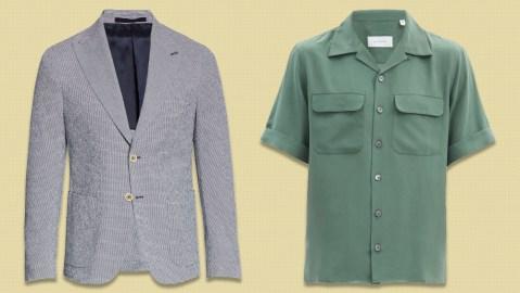 An Eleventy sport coat and Equipment shirt