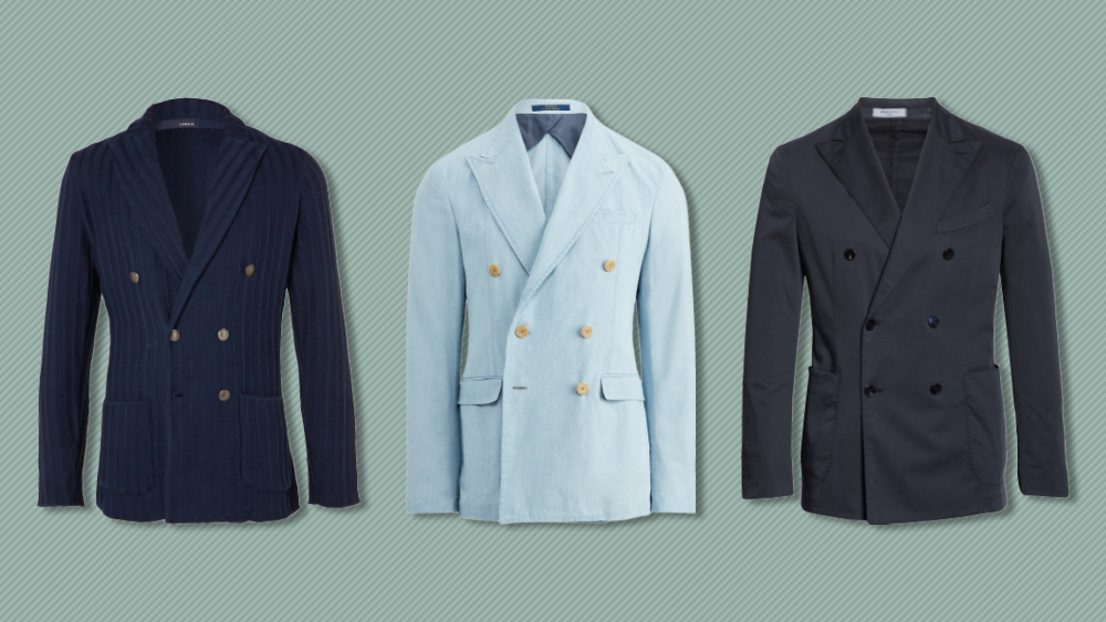 Double-breasted blazers from Lardini, Polo Ralph Lauren and Boglioli
