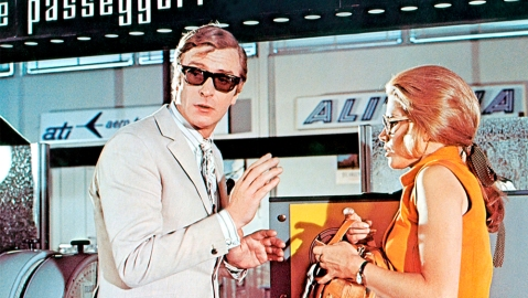 "Michael Caine wearing his Curry & Paxton sunglasses in ""The Italian Job""."